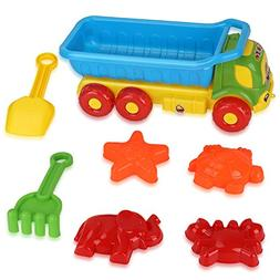 Beach Toys Deluxe Playset for Kids - 7 pieces Large Dump Tru