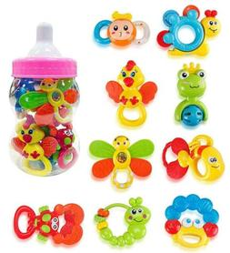 Deluxe 9 Piece Baby Rattles Teether and Shakers in Pink Milk