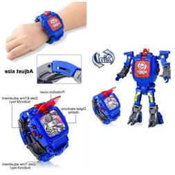 Digital Watch For Kids Deformation Robot Electronic Learning
