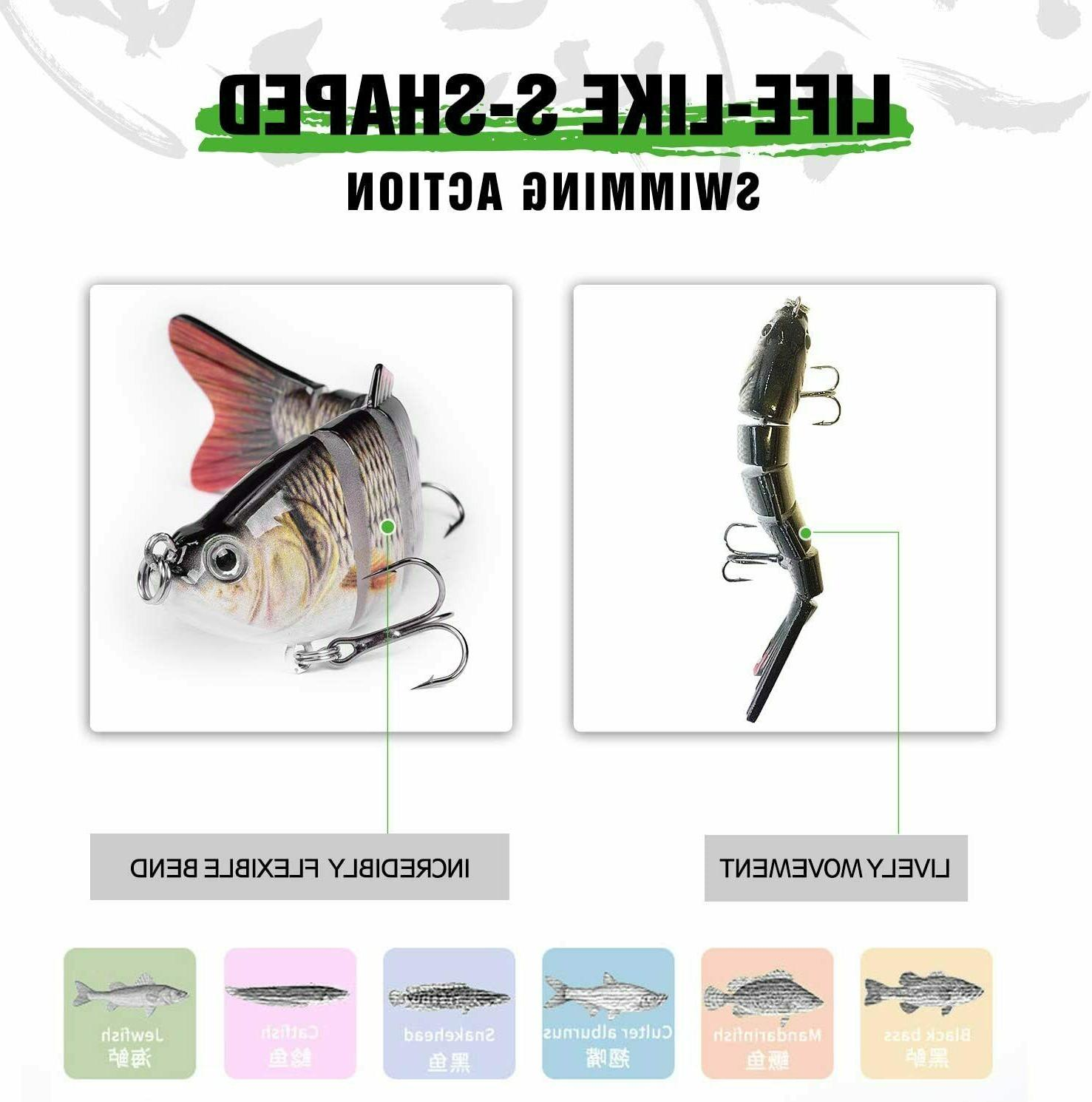 5 Pack Lure Bait Swimming Multi Jointed