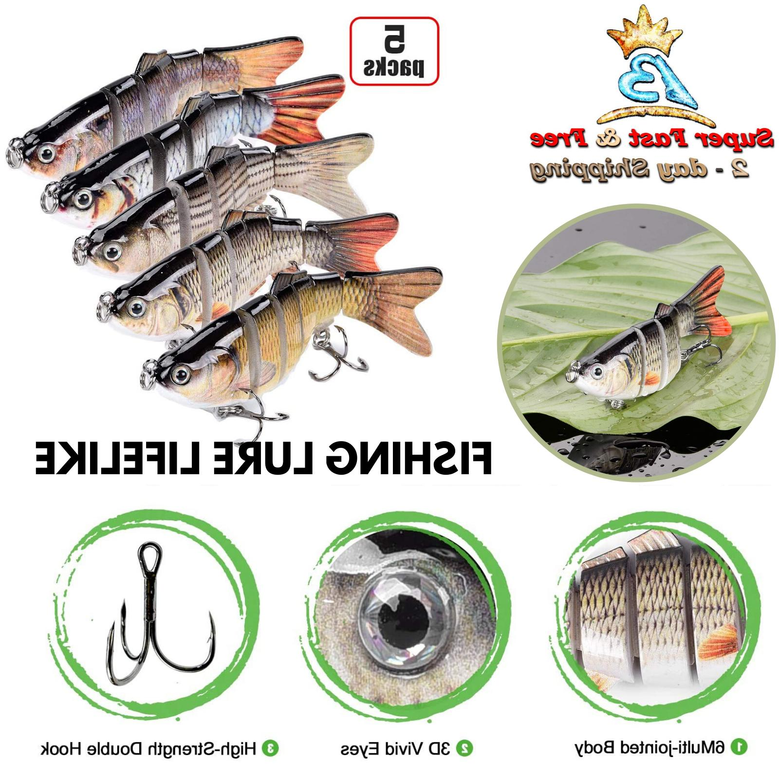 5 Pack Lure Robotic Bait Swimming Freshwater Saltwater Multi