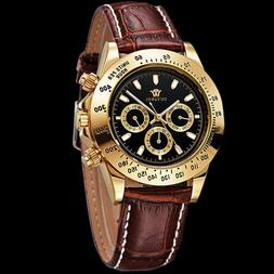 Mens OUYAWEI Luxury Day Date Brown Genuine Leather Band Mens