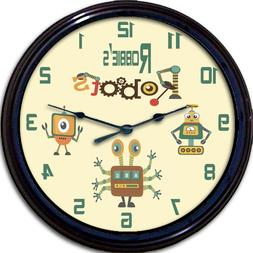Robot Robots Gears Personalized Wall Clock Android Child Nur