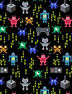 Video Game Fabric, Robot Fabric, By The Yard, Pixelated Robo